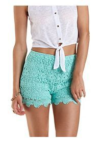 High-Waisted Scalloped Lace Shorts