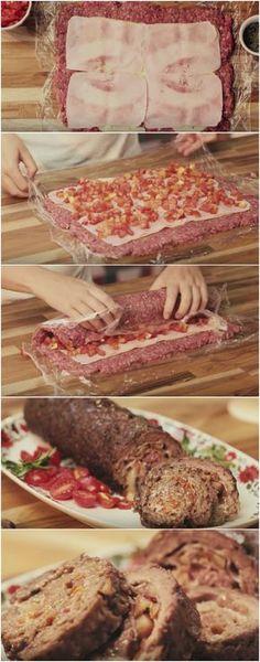 Uma ótima sugestão para aquele almoço especial | Rocambole de Carne #rocambole #carne #rocamboledecarne