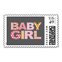 Cutout Letters Baby Shower Custom Stamp - Baby Gir Postage Stamp