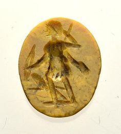 Römische Intaglio Gemme. Gelbe Jaspis c. 2. Jht. / Artemis