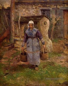 """Camille Pissarro (1830-1903) ~ """"Mère Presle, Montfoucault"""", 1874 ~ Huile sur toile ~ Collection Privée"""
