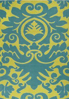 teal and lime area rug