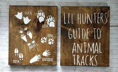 Lil Hunters Guide to Animal Tracks Rustic Wood Set, Hunting Nursery Decor, Rustic Nursery Decor, Kids Bedroom Decor, Woodland Nursery Decor by RusticLuvDecor on Etsy https://www.etsy.com/listing/268581634/lil-hunters-guide-to-animal-tracks