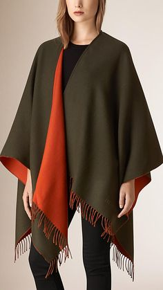 Olive green Fringed Merino Wool Cape - Image 1