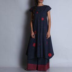Hand Block Printed Indigo Cotton Kurta With Red Circular Motifs