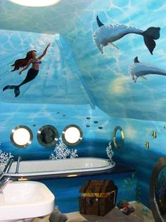 Image of: Little Mermaid Bathroom Decor
