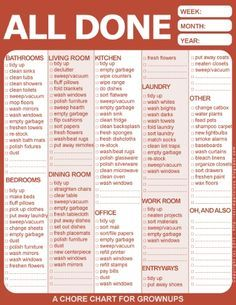 A chore chart for grown-ups, and suggestions about what tools you need to do the work.