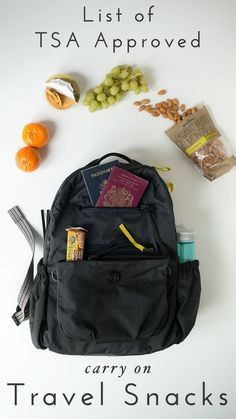 Travel Tip : A full list of TSA Approved Carry-on Snacks for your next flight. Click through for the full list.