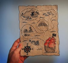 How to make a treasure map - Party Pirate Treasure Maps, Pirate Maps, Pirate Theme, Pirate Birthday, Art Lessons Elementary, 4th Birthday Parties, Holidays And Events, Party Time, Crafts For Kids