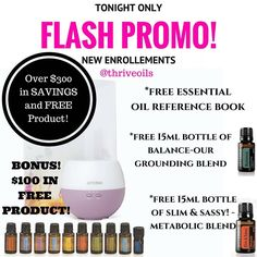 Unbeatable Promo on our Home Essentials Kit! features dōTERRA's Top 10 Essential Oils Free Petal Diffuser Free Reference Book  Free grounding blend: Balance  Free metabolic blend : Slim & Sassy And did I mention an additional $100 in FREE Product?! WHOA  Promo is only offered till midnight & is only for new Enrollments. Reduce your Toxic Load and start using natural solutions for your health & home! We are here to empower you and provide all the guidance to implement oils in your routine…