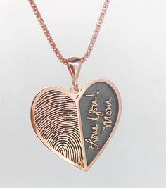 Stylish Jewelry, Cute Jewelry, Jewelery, Silver Jewelry, Jewelry Accessories, Jewelry Design, Unique Jewelry, Fingerprint Necklace, Memorial Jewelry