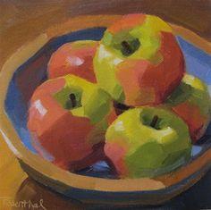 """""""Bowl of Honeycrisp Apples"""" - Original Fine Art for Sale - © Robin Rosenthal"""