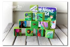 Make story blocks using pictures from old books.