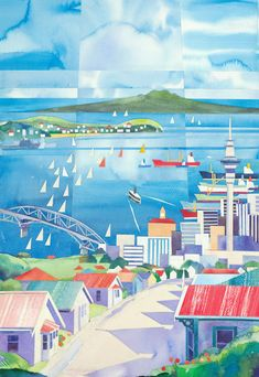 """Unusual collage with perfect clean cheerful colours, watercolour """"Across Auckland"""" by Alfred Memelink, www. Famous Impressionists, Canvas Prints, Art Prints, Block Prints, New Zealand Art, Nz Art, Kiwiana, Collage Artwork, Selling Art"""