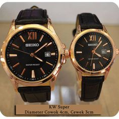 Seiko couple monza leather black ring rosegold | Rp 170rb