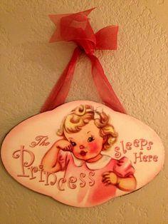 Vintage Nursery Sign Cottage Shabby Chic Princess