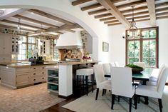 Just the openness between kitchen and dining room  Thomas-callaway-associates-inc-architecture-french-country