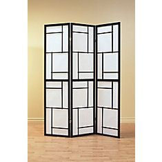 Elegantly crafted, this black panel room divider gives any room a touch of sophistication. Made of wood with a deep black finish and natural rice paper, this three-panel room divider is a stunning and stylish addition to any home decor. Folding Screen Room Divider, Wood Room Divider, 4 Panel Room Divider, Room Dividers, Folding Screens, Home Yoga Room, Online Shopping, Asian Home Decor, Black Wood