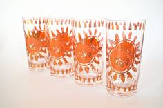 1960s Highball Glasses Mid Century Barware by YellowBeeVintage