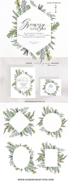 Watercolor Greenery PNG Clipart, Digital Leaf Frame Border, Baby Bridal Shower Invitation, Beach Bohemian Tropical Wedding, Botanical Logo - Commercial Use Included | Greenery Wedding Invitation Frames Birthday Parties & more. CLICK to see>>