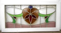 """LARGE OLD ENGLISH LEADED STAINED GLASS VICTORIAN FLORAL TRANSOM 37.25"""" x 19.25"""""""