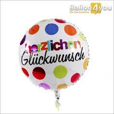 Herzlichen Glückwunsch - bunt       Kunterbunte Glückwünsche! Egal zu welchem Anlass – mit diesem farbenfrohen Glückwunsch landen Sie garantiert einen Volltreffer. Darf es etwas mehr sein – diesen Ballon bieten wir zusätzlich mit weiteren bunten Ballons als Ballonbukett.