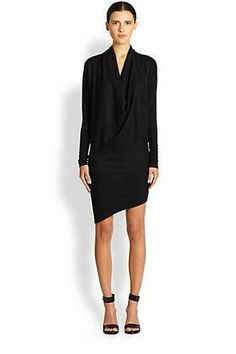 Helmut Lang Sonar Asymmetrical Draped Wool Dress++Saks Fifth Avenue