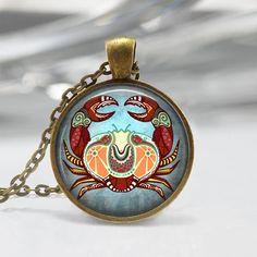 Cancer Zodiac Glass Pendant - Cancer Zodiac Jewelry - Zodiac Necklace - Art Pendant - Zodiac Necklace -Zodiac Charm,Astrology Pendant