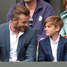 "David Beckham Brings His ""Little Man"" Romeo to a Wimbledon Match Kids Hairstyles Boys, Boy Haircuts Long, Cool Boys Haircuts, Toddler Haircuts, Little Boy Hairstyles, Boys Haircut Styles, Beckham Hair, Medium Hair Styles, Long Hair Styles"