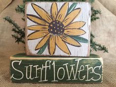 Primitive Country Sunflowers Home Decor Stacking Shelf Sitter Wood Block Set #PrimtiiveCountry