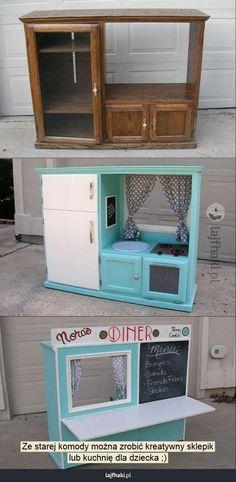 Zabawki z recyklingu - Ze starej komody można zrobić kreatywny sklepik lub kuchnię dla dziecka ;)