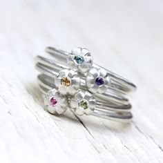 Floral Gemstone Stacking Rings Silver Pink Purple Yellow Blue Green - Sunset Bouquet by NangijalaJewelry on Etsy https://www.etsy.com/listing/187313596/floral-gemstone-stacking-rings-silver