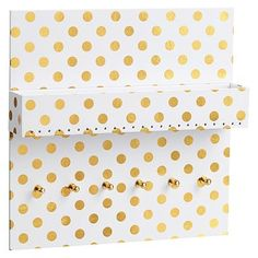 Paper Wall Jewelry Organizer, White with Gold Dot