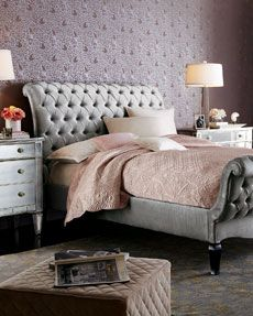 """OLD HOLLYWOOD BEDROOM Haute House Platinum Tufted Bed Tufting moves into the bedroom and redefines the lines of a traditional sleigh bed. Alder wood frame is covered in platinum-hued velvet. By Haute House™. USA made.  Queen bed, 65""""W x 110""""L x 55""""T.  King bed, 81""""W x 110""""L x 55""""T.  California king bed, 74""""W x 114""""L x 55""""T."""
