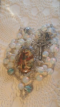St Michael the ArchAngel Rosary Opal Angelic crown Custom Religious Jewelry, Religious Art, Heart Of Jesus, Catholic Gifts, Rosary Beads, Beaded Necklaces, St Michael, Sacred Heart, Jewerly