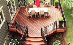 A beautiful fire feature is one of the most requested amenities when we are designing an outdoor living space. Deck Colors, Deck Landscaping, Backyard Patio Designs, Small Backyard Decks, Patio Ideas, Deck Builders, Diy Deck, Decks And Porches, Building A Deck