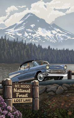 Mount Hood Lost Lake Chevy Pal 1327 Painting at ArtistRising.com