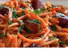 Dates and Carrot salad .The Best Vajikarana Food -A vajikarana food must be nourishing in nature. It should enhance shukra dhatu, increase body energy and provide nourishment to all tissues of body. These foods have to provide plenty of vitamins, minerals and antioxidants which help to rejuvenate body and also reproductive system.The carrot and dates salad supplies plenty of nutrients. It is very delicious to taste. It makes best men's health salad recipe.