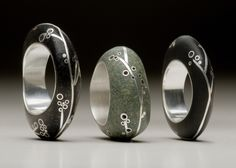A series of rings by Andrea Williams.
