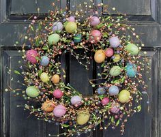 Items similar to LAST ONE! Easter Wreaths - Spring Front Door Wreath - Easter Egg Wreath - Easter Decor - Primitive Pastel Egg Wreaths - Primitive Decor on Etsy Easter Wreaths, Christmas Wreaths, Spring Front Door Wreaths, Diy Ostern, Easter Crafts, Easter Decor, Diy Wreath, Easter Eggs, Decoration