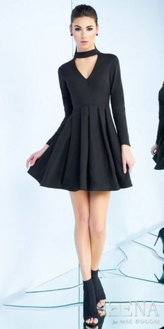 If your looking for the perfect little black dress for a night out in town with the girls, the Long Sleeve V-neck Cutout Cocktail Dress by Mac Duggal is an obvious choice. This trendy ensemble features a high neck with a v-shape cut, long sleeves and a covered back. The a-line silhouette also includes, a pleated skirt, an invisible zipper closure and a short cocktail length. #edressme