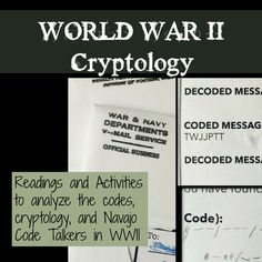 Do you know about v-mail, Navajo Code talkers and coded messages? Analyze the importance of all of these in World War II. Code Talker, Social Studies Classroom, Middle School Ela, History Education, Secret Code, Student Engagement, Creative Teaching, Student Learning, World War Ii