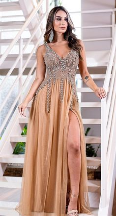 Beautiful Gowns · 2019 Gold Long Prom Dress with Slit 663f6a3fa2c7