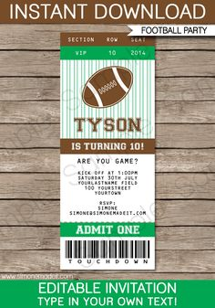 Football Ticket Invitation | Birthday Party | Tailgate | Editable DIY Theme Template | INSTANT DOWNLOAD $7.50 via SIMONEmadeit.com