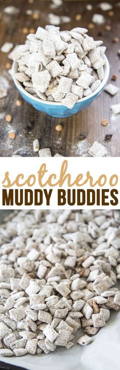 Scotcheroo Muddy Buddies - this twist on traditional muddies is just as irresistible as the original. Its got the flavors of chocolate, peanut butter and butterscotch for a delicious treat that tastes just like scotcheroo bars. Puppy Chow Snack, Puppy Chow Recipes, Snack Mix Recipes, Yummy Snacks, Yummy Treats, Delicious Desserts, Sweet Treats, Yummy Food, Snack Mixes