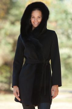 ae11557a248 Imperial Loro Piana Wool Wrap Coat with Hood and Fox Fur Trim  30508 Warm  Outfits