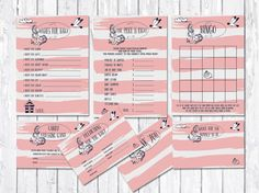Baby Shower Games Printable, Set of 7 Cards, Summer Baby Shower Ideas, DIY Baby Shower, Nautical Baby Shower Theme, Girl baby Shower Games, Pink baby shower activities. This Bundle includes: Price is right game, Bingo, Wishes for baby, Thank you card, Advice for Mommy Card, Predictions for Baby and Candy Guessing Game. Matching baby shower invitation available at: tranquillina.etsy.com