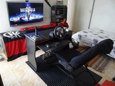 Hardcore Gamer Bedroom Designs with Gaming Chair - Best Video Game Room Ideas: Cool Gaming Setup Designs, Gamer Room Decor, and Apartment Decorating Ideas - Bedroom, Living Room, Small Room Best Gaming Setup, Gaming Room Setup, Gaming Chair, Gaming Rooms, Gamer Bedroom, Kids Bedroom, Guy Bedroom, Bedroom Ideas, Video Game Rooms