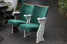 2-Vintage-Cinema-Theatre-Seats-Chairs-WITH-Aisle-Ends-Shabby-Chic-Retro