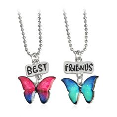 2pcs Best Friends BEST BUDS Butterfly Flower Turtle Hippocampus Starfish Pendant Necklaces Friendship BFF Jewelry Christmas Gift